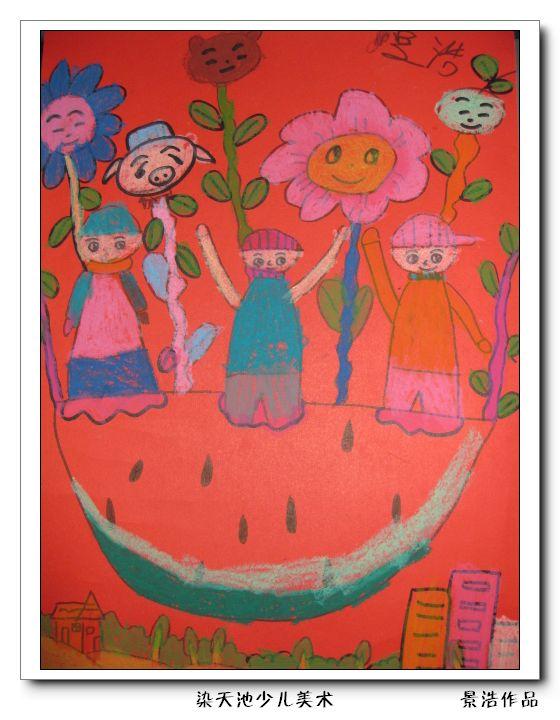 热气球儿童画范画