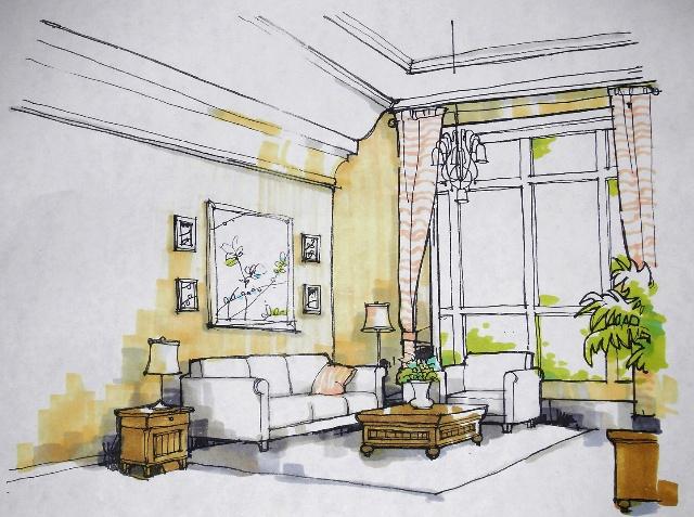 欧式田园客厅手绘图