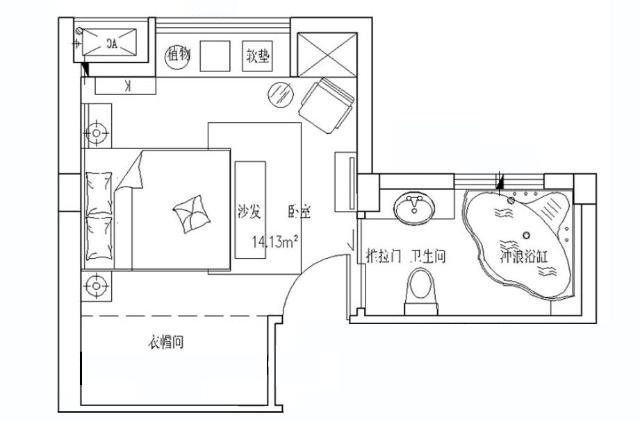 在空间不大的b1户型一层中,在进门就看见屏风,屏风细节给人四川瓦房的图片