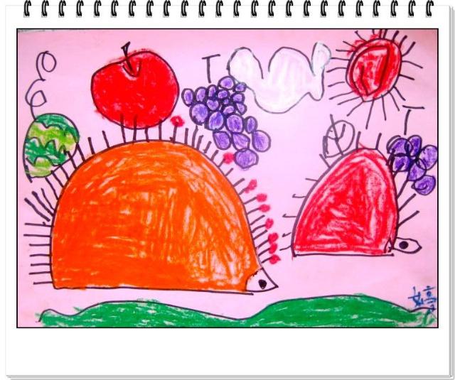 中班美术作品(三)——小刺猬背果果