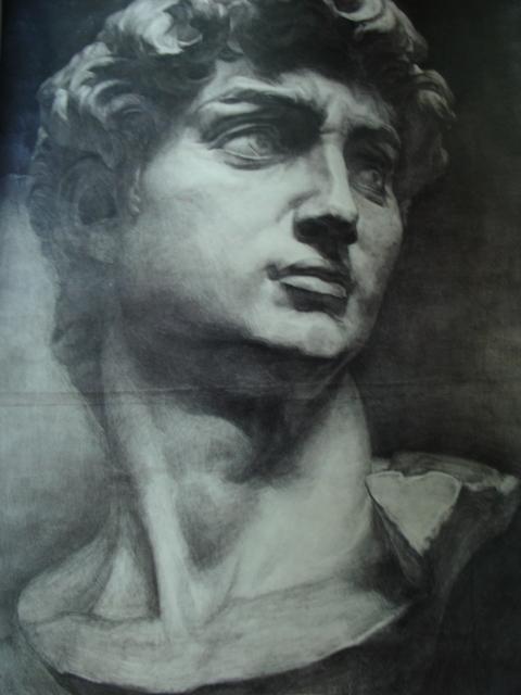 大卫石膏雕像图片 大卫素描石膏头像