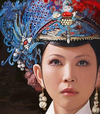 清朝娘娘头饰手绘图片