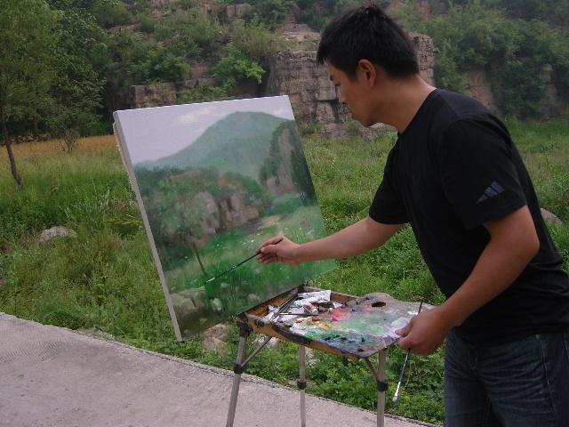 我会民革党员拓展训练期间写生施家沟-鹤壁青年美术家